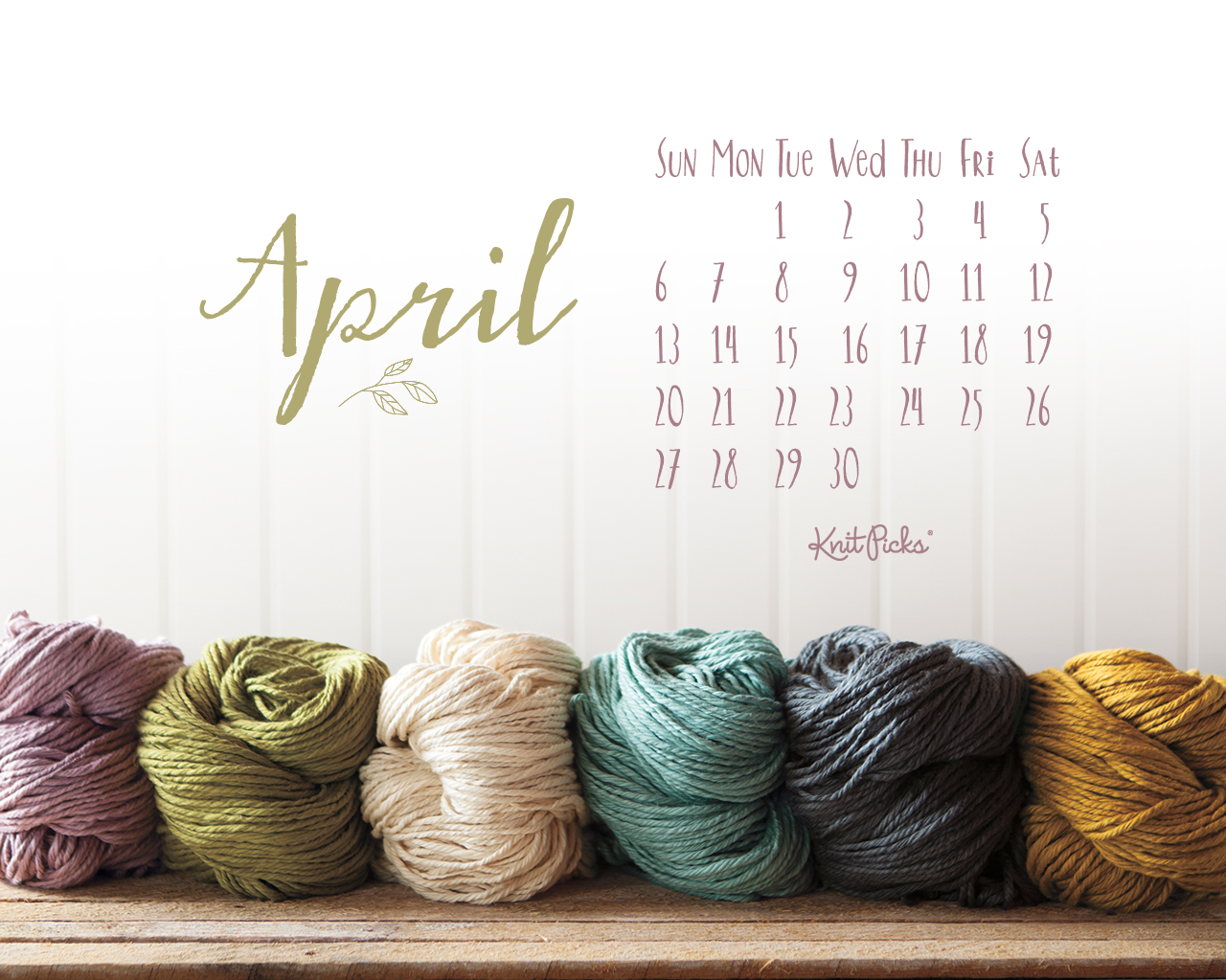Knitting Wallpaper Free : Free download april desktop calendar by knit picks