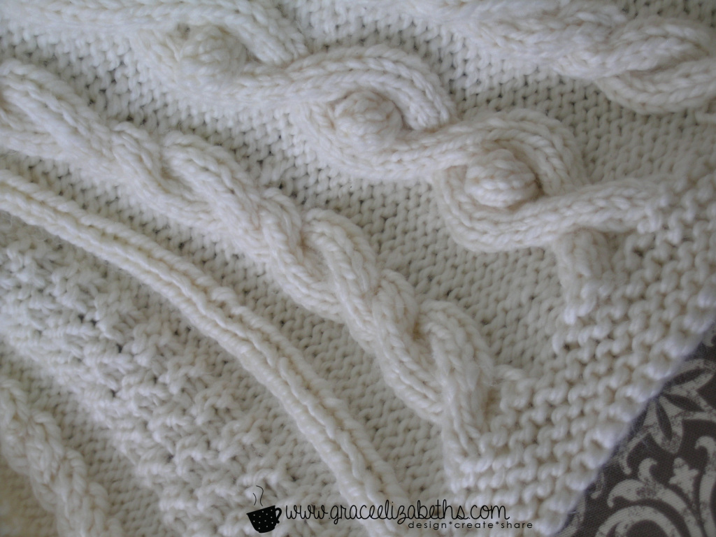 Cabled Baby Blanket close-up