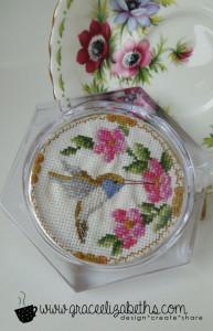 Cross-stitch Humming Bird Coaster - Grace Elizabeth's