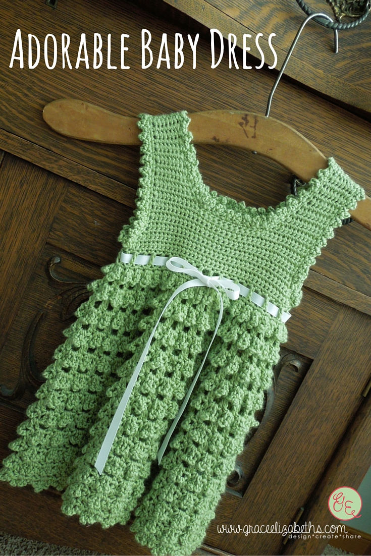 Adorable Crocheted Baby Dress made by Grace Elizabeth's